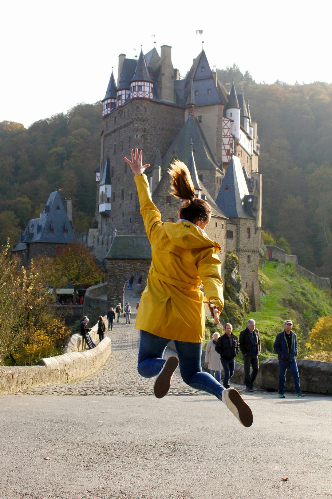 Jumping for joy at Burg Eltz, Germany
