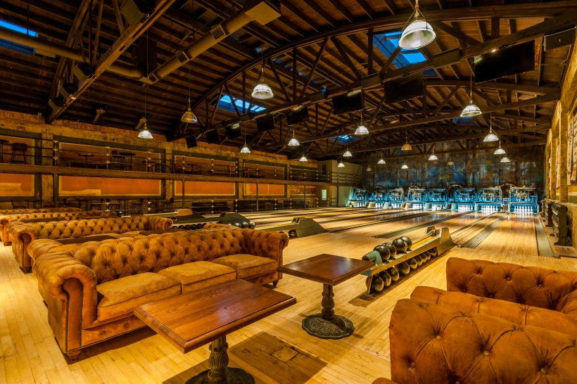 Highland Park Bowl, an LA hotspot. Bowling balls, polished floors and mahogany leather couches.
