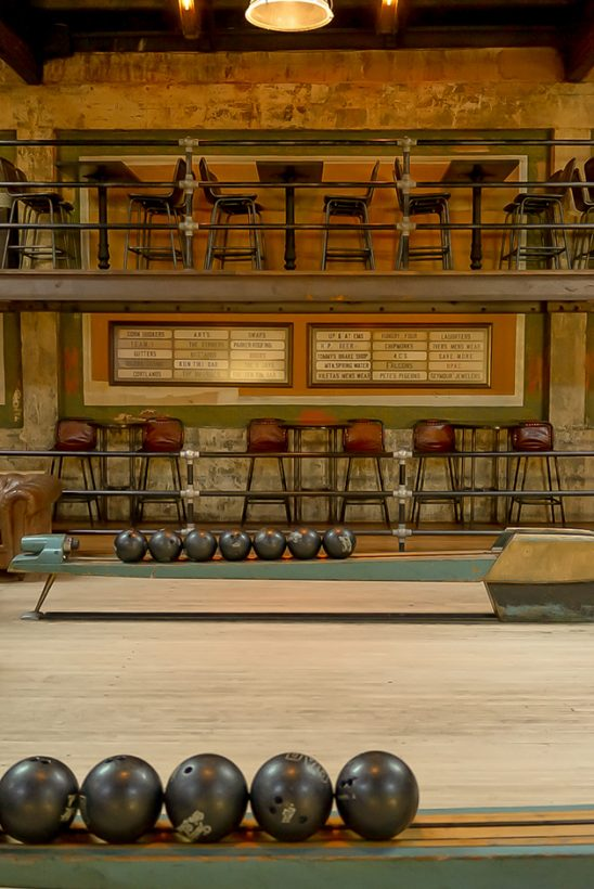 Bowling balls and old chairs at the Highland Park Bowl.