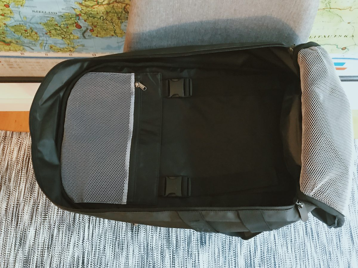 The inside of a backpacking bag
