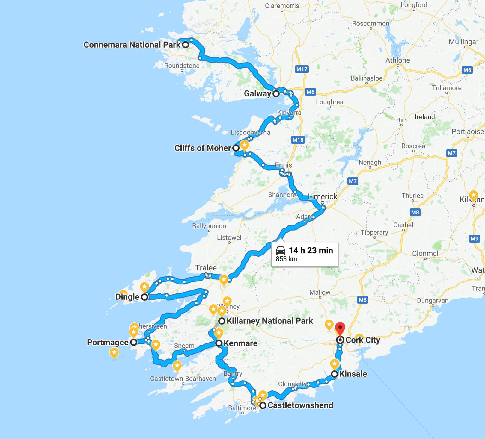 Entire 7 day plan minus Cobh 1600 KM, ireland road trip, road trip through ireland, road trip ireland 7 day