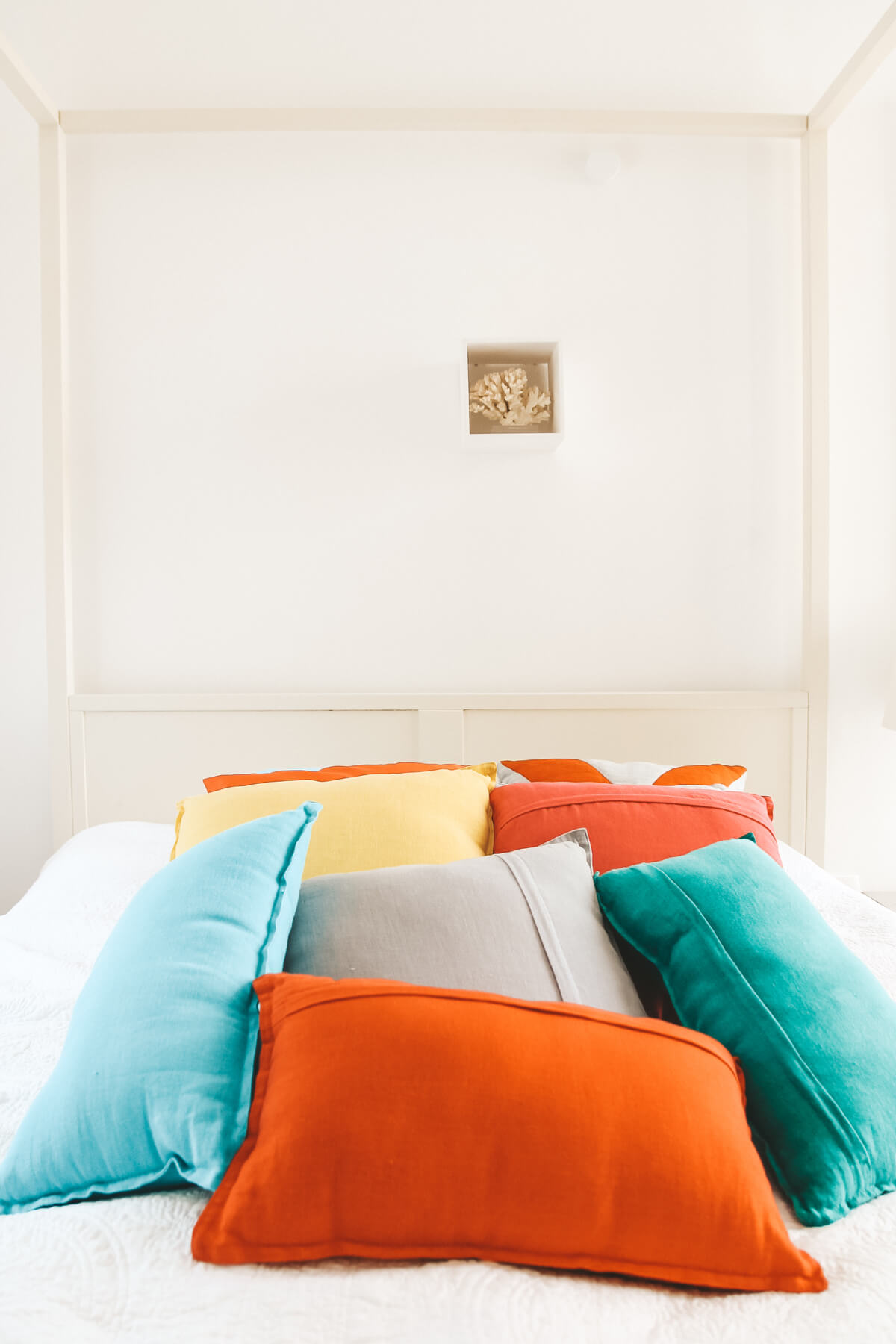 The Bohoho bedroom colourful cushions, villas in croatia, villa split, villas in split croatia, accommodation split croatia