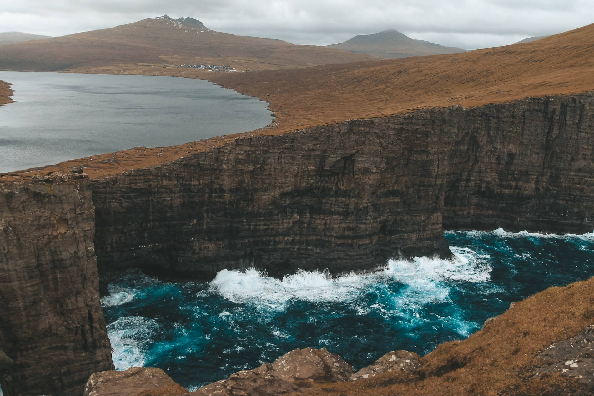 Crashing waves at Sorvagsvatn Faroe Islands, faroe islands facts, visit faroe islands