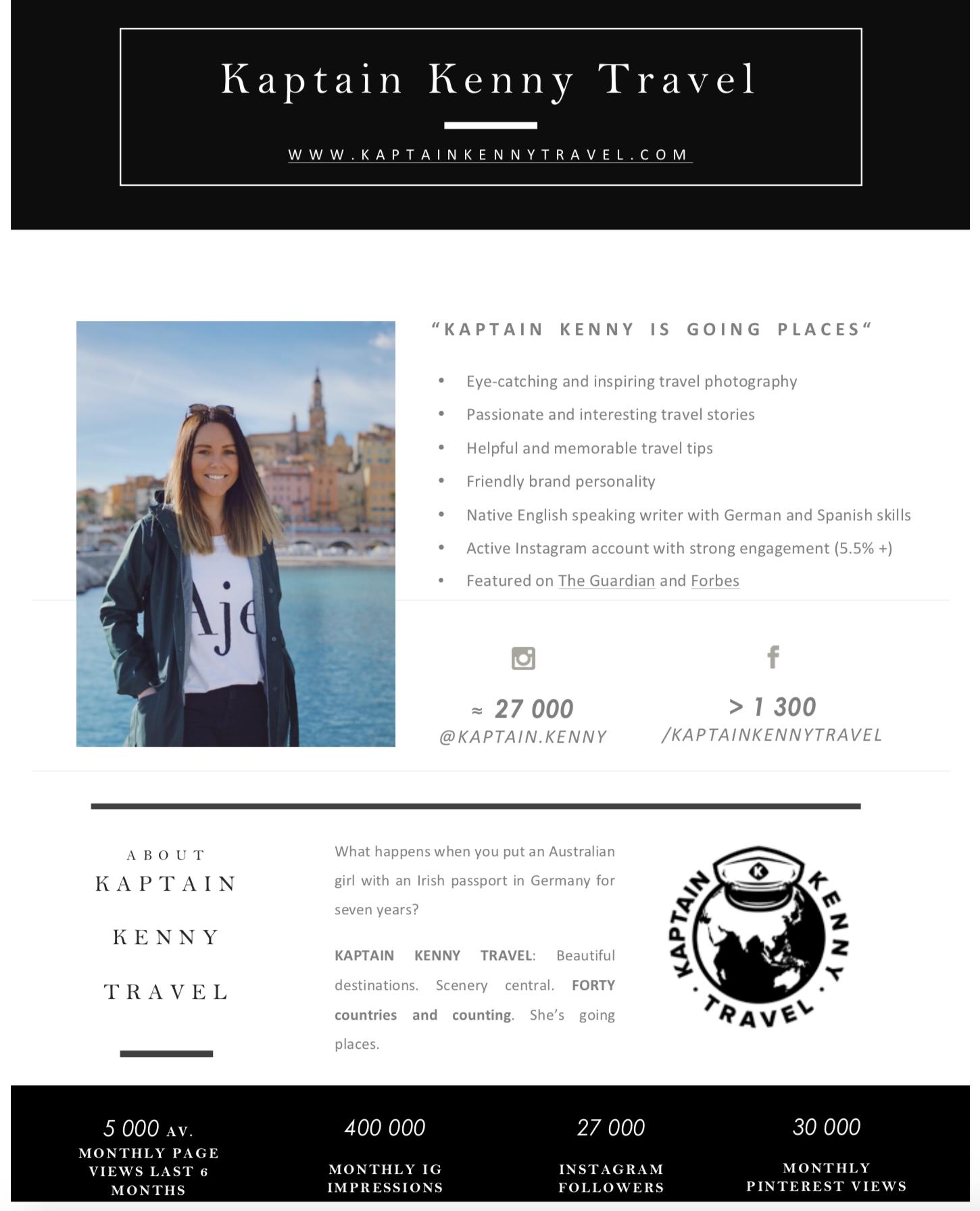 Kaptain Kenny Media Kit NOV 2018 page one